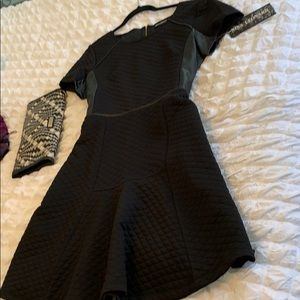Nina Leonard Fit & Flare Dress w/ faux leather